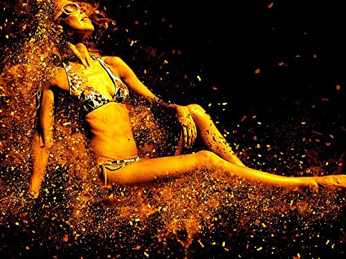 Quality Prints - Laminated 32x24 Vibrant Durable Photo Poster - Woman Bikini Sensual Sexy Beach Pretty Swim Young Women Female Body Model Figure Sunbathing Erotic Relaxation Sun Slim Two-Piece