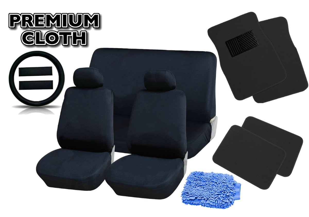 Free DETAILING WASHMITT 18pcs PREMIUM BLACK Universal Car Truck Seat Covers Full Set PLUSH 4pc Black Floor Mat Set Bonus Steering Wheel /& Shoulder Pads