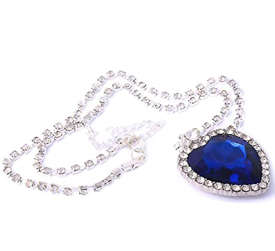 Titanic blue heart of ocean crystal necklace pendant with full titanic blue heart of ocean crystal necklace pendant with full crystal silver chain for women lady aloadofball Image collections