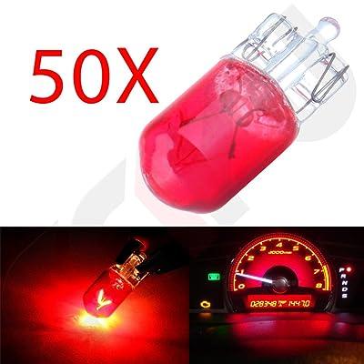 CCIYU 20 Pack 194/168/T10 12V 5W Side Marker Clearance Light Halogen Bulb (50 PCS Red): Automotive