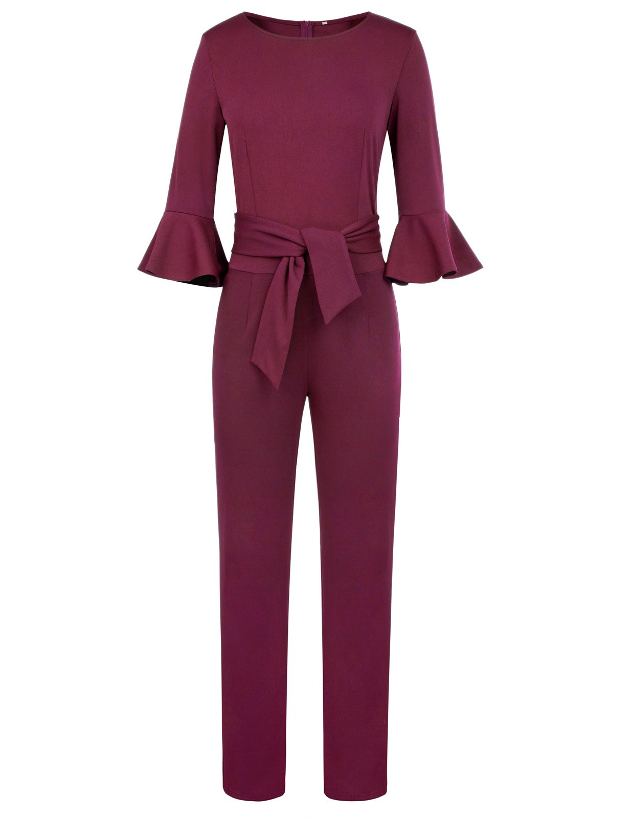 Women Short Sleeve Business Jumpsuit with Belt Solid Color Size 2XL Burgundy