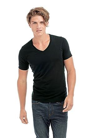 8bade387b35 Stedman Stars ST9690 Dean Mens Deep V Neck T-Shirt Black Opal S  Apparel
