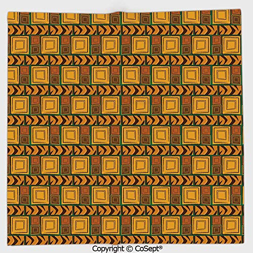 Aztec Wall Mount - Lightweight Square Towel,Kenya Ethnic Motif with Geometrical Aztec Native American Effects Print,for Adults Girls Boys Women Men(19.68x19.68 inch),Yellow Brown Green
