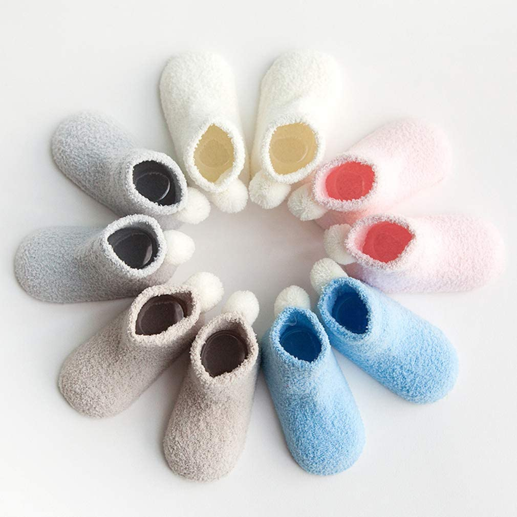 Xiang Ru Pack of 3 Thick Warm Baby Solid Color Coral Pompoms Newborn Socks for 0-3 Years Boys and Girls Blue XS