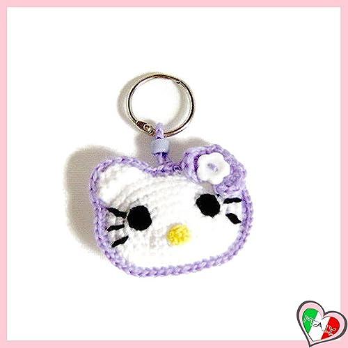 Lila Hallo Kitty Häkeln Schlüsselanhänger Aus Baumwolle Und Acryl