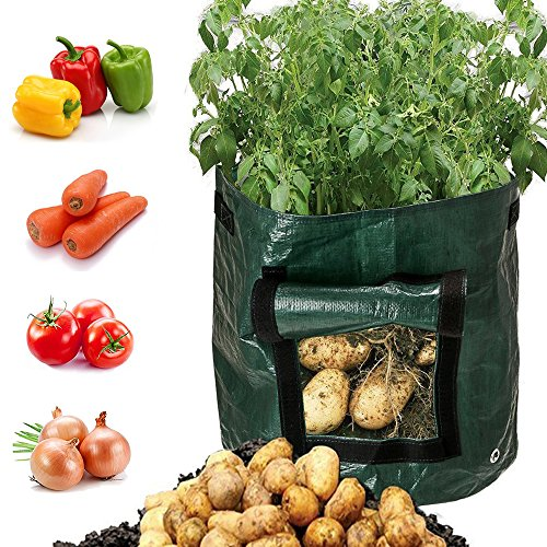 Besiva Potato Grow Bag 2Pack Garden Vegetables Planter Bags with Flap and Handles Heavy Duty Suitable for Potato Carrot Tomato Onion and so on