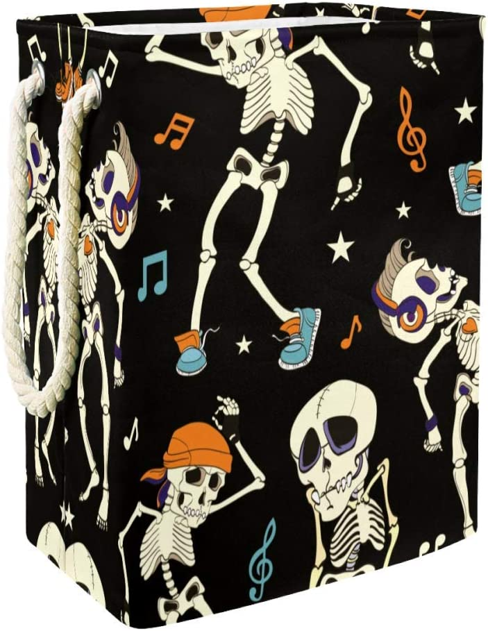 Unicey Dancing Skeletons Party Music Disco Isla Vista California Laundry Hamper Waterproof Dirty Clothes Laundry Basket Collapsible Laundry Basket