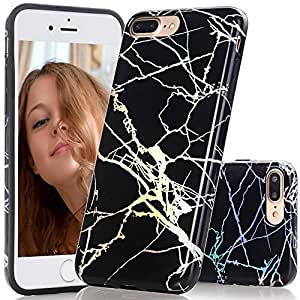 LYFSTYL Case for iPhone 8 Plus and iPhone 7 Plus | Premium Marble Design IMD TPU Glossy Finish Slim-Fit Flexible Soft Rubber Silicone Case | Laser Hologram Black