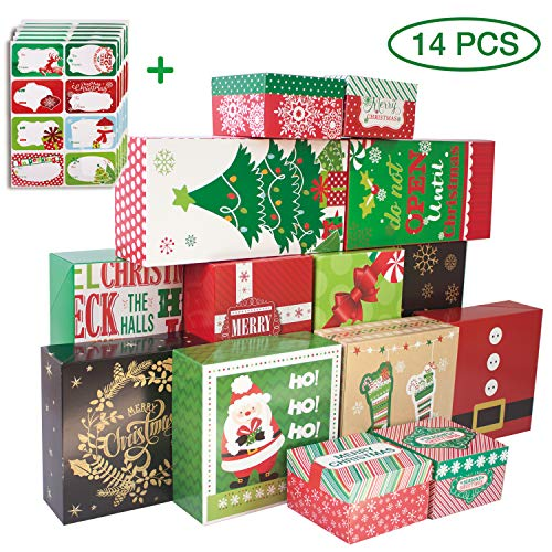 14-Count Decorative Christmas Gift Boxes with Lids and 80-Count Foil Christmas Gift Tag Stickers (Assorted size,6 Rectangle,4 Square, 4 Small Square ()