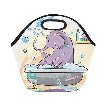 294f22f7738a Amazon.com: Insulated Neoprene Lunch Bag Funny Elephant Bathing ...