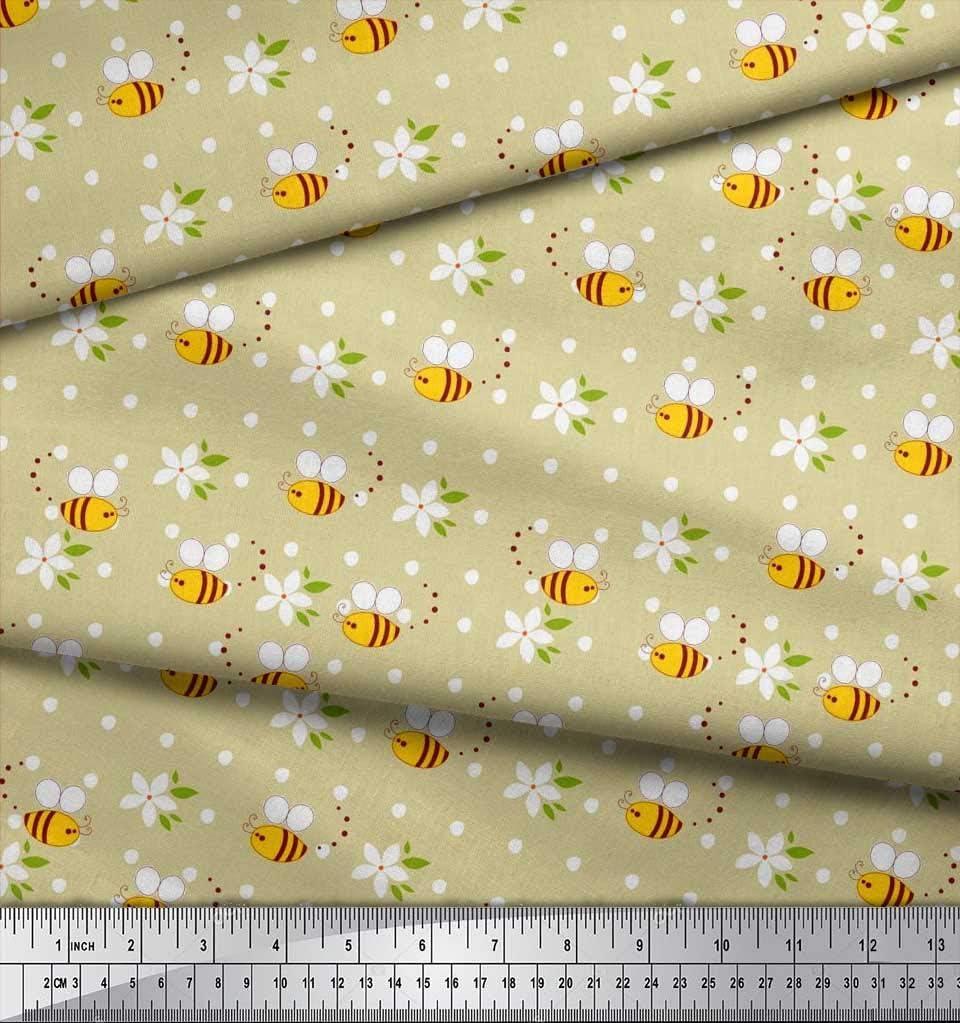 Soimoi Beige Georgette poli Tela hojas flores y miel de abeja clipart tela artesanal impresa por metro 42 Pulgadas de ancho