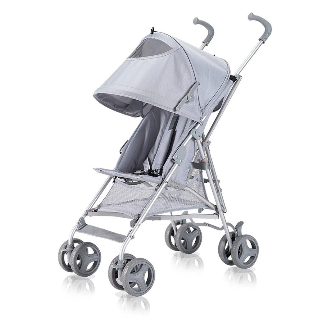 ベビー傘スーパー軽量ベビーカーベビーキャラバン夏軽量折りたたみカート、グレー/カーキ、65 * 45 * 98cm ( Color : Grey (canopy) ) B07BX6P5LY