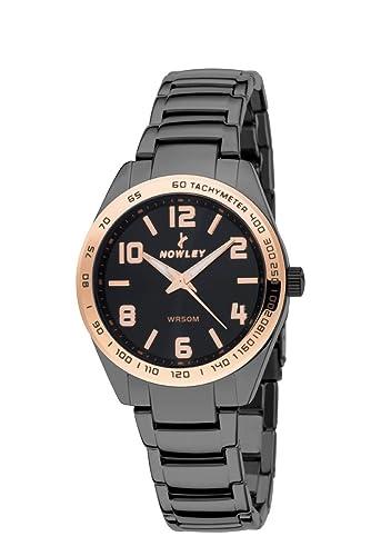 Reloj hombre, marca Nowley, acero negro y numeros en cobre, tapa rosca: Amazon.es: Relojes