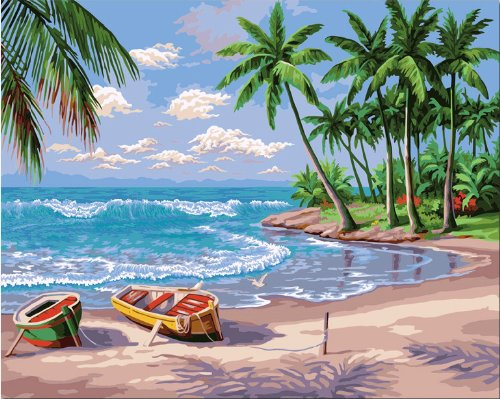 Diy oil painting, paint by number kit- Sunny Beach 16×20 inch.