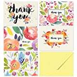 Thank You Cards - 40 Floral Thank You Notes for Your Wedding, Baby Shower, Business, Anniversary, Bridal Shower - Watercolor Flower Cards with Envelopes - Blank Inside