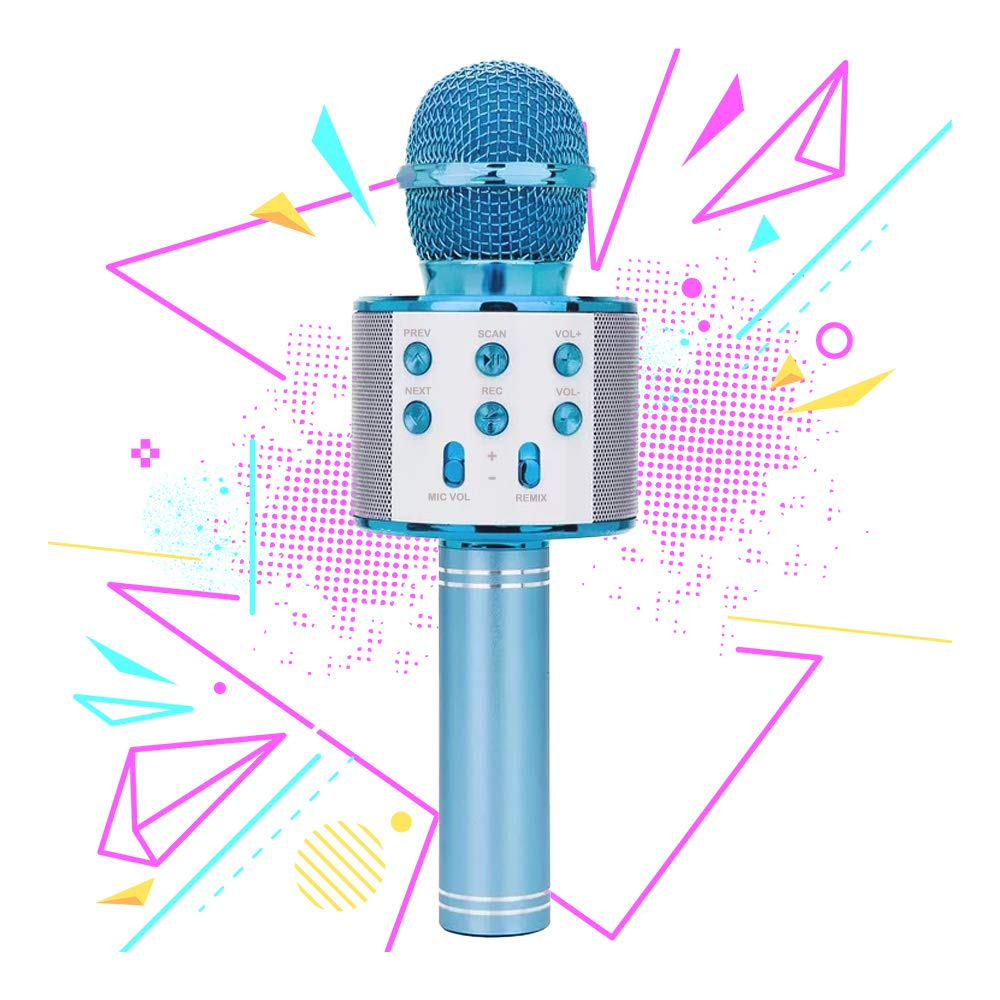 Gift for 6-10 Year Old Girl, Wireless Bluetooth Microphone for Kids Girls Party Toy for 4-7 Year Old Girl Boys Karaoke Microphone Toy Age 6 7 8 Girls Birthday Gift for Girl Blue Mic by Moff (Image #1)