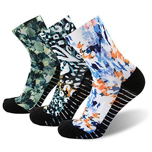 MEIKAN Colored Athletic Socks Men, Men's Wild Printing Plant Spring Style Seamless Casual Running Sports Crew Quarter Socks 3 Pairs (Multicolor, Large)