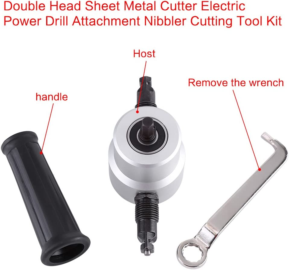 Double Head Sheet Metal Nibbler Cutter 360 Degree Adjustable Power Drill Nibbler Cutting Tools Kit