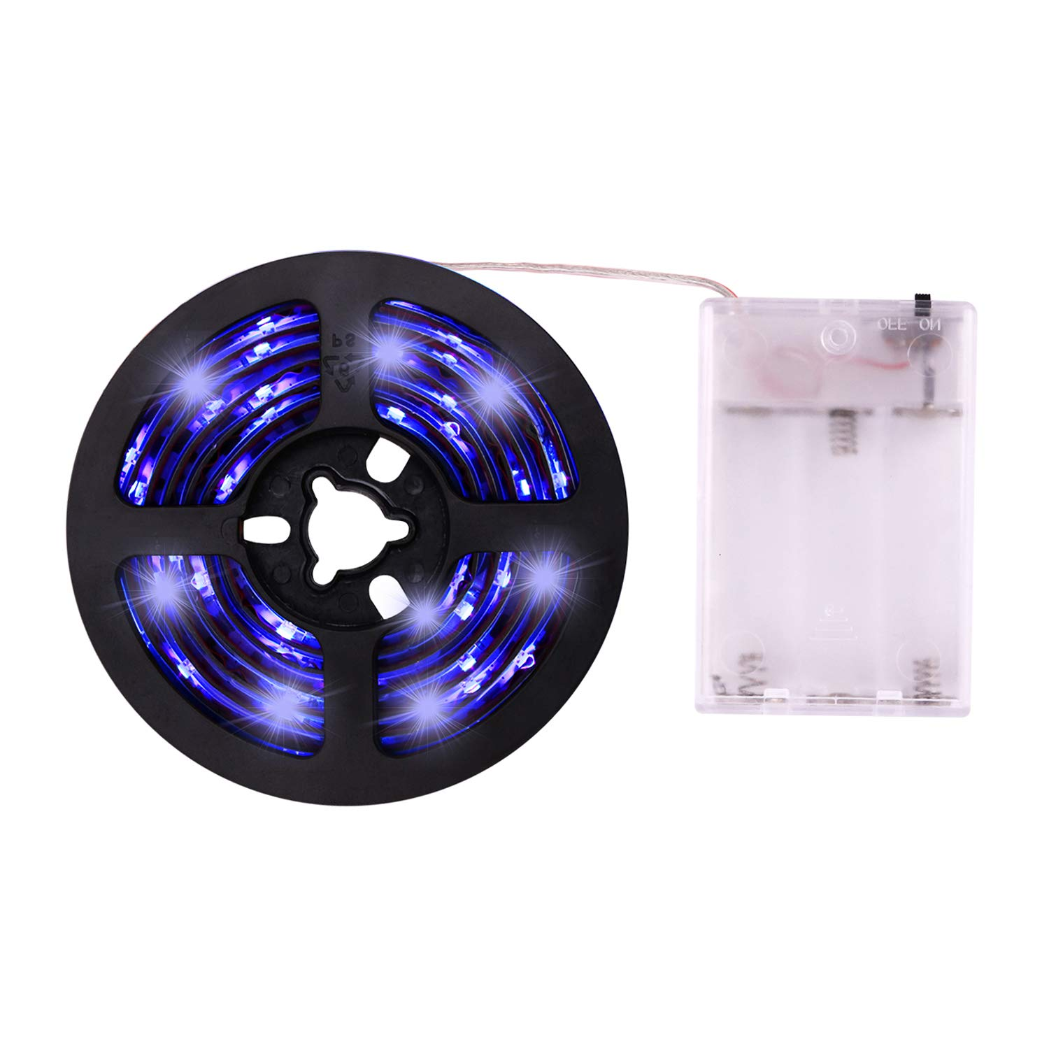 UV Light Strip - iCreating 2018 New Design Ultraviolet Battery Operated LED Black Light Strip Kit with 6.6FT 2M 60Units SMD 3528 IP65 Waterproof Super Bright LED Strip Lights, Battery Case