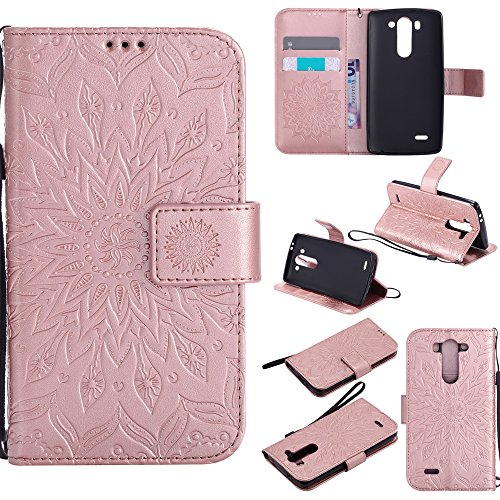 NEXCURIO [Embossed Flower] LG G3 Vigor / G3 S / G3 Beat Wallet Case with Card Holder Folding Kickstand Leather Case Flip Cover for LG G3 Vigor / G3 S / G3 Beat (Rose Gold) (Lg G3 Beat Best Features)
