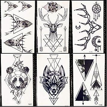 Tatuajes Temporales Hombre Lobo Geométrico Tatuaje Temporal ...