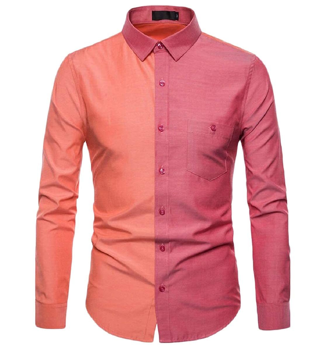 YIhujiuben Mens Casual Dress Contrast Color Button Front Long Sleeve Shirts