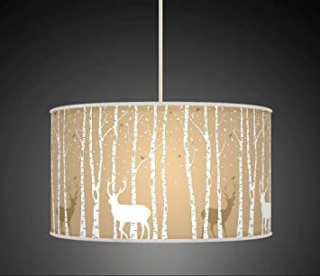 Stag deer trees handmade lampshade printed fabric pendant light stag deer trees handmade lampshade printed fabric pendant light beige colour 860 amazon kitchen home mozeypictures Gallery