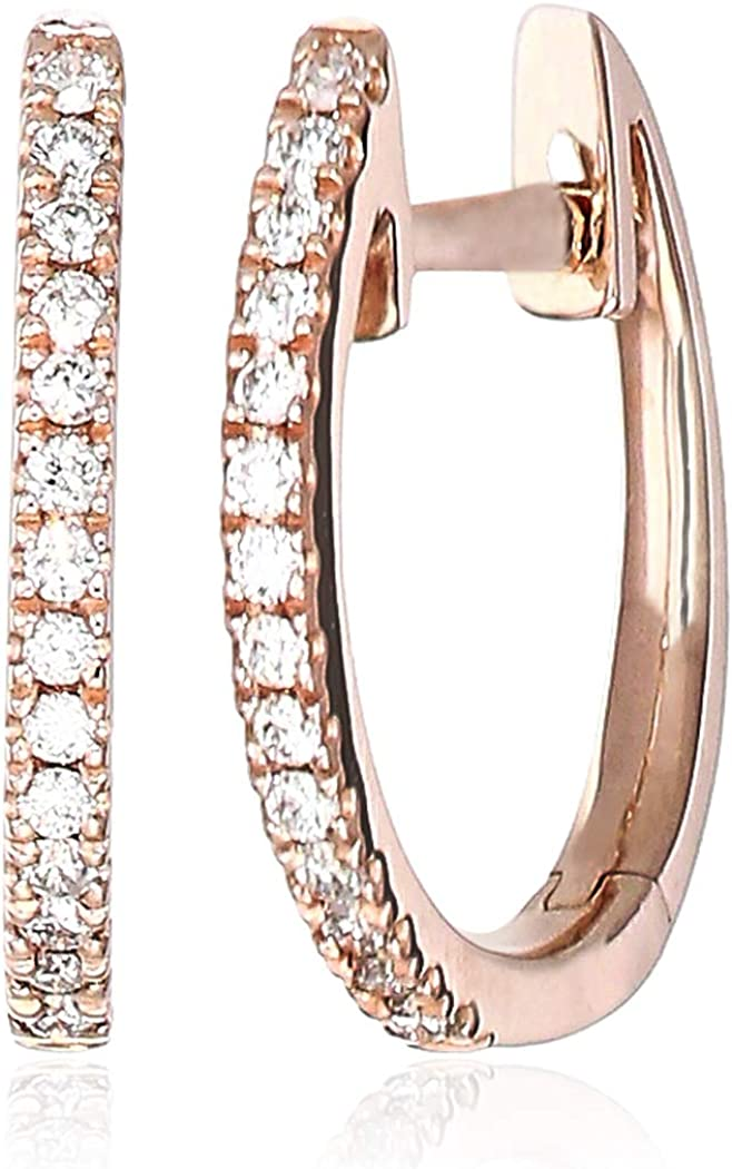 Helzberg Diamonds 14K Gold 1/10 cttw Diamond (H-I, I1-I2) Micro Huggie Hoop Earrings