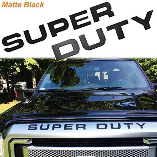 Matte Black Thin Vinyl Super Duty Letters Decal Stickers For 2008-2016 Ford F-250 F-350 F-450 F-550 Front Grille Hood