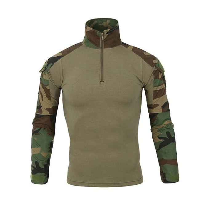 Hombres Airsoft Militar Táctico Camisa Largo Manga Camuflaje Combate BDU Camo Camisetas con Cremallera Bosque Small