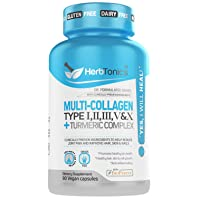 Multi Collagen Pills + Turmeric Curcumin Complex Capsules - Type I, II, III, V & X Ultimate Joint Pain, Skin Enhancing for Women and Men 90