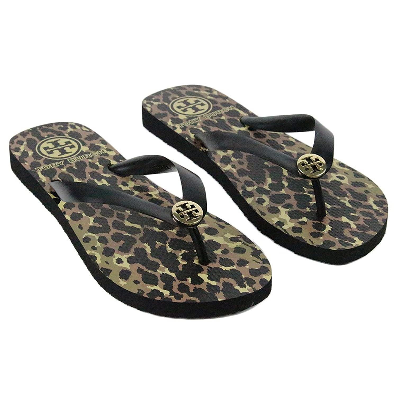 Amazon.com | Tory Burch Leopard Animal Print Flip Flops Sandals Wildlife  Black Size 8 | Flip-Flops
