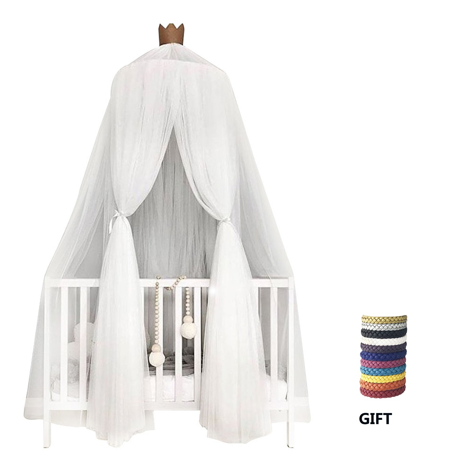 Xinyi Children Bed Mosquito Net for Kids, Crib Bed Canopy Round Dome Hanging Netting Tent Bedding for Boys and Girls Playing Reading Indoor Lace Decoration White