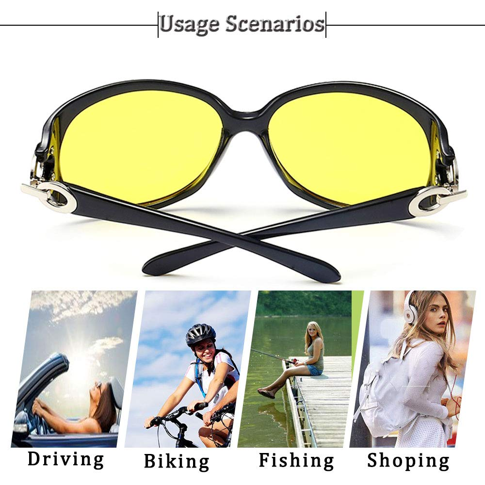Bloomoak Night Driving Glasses for Women Women Oversized Polarized Night Vision Driving Glasses UV Protection Clear View Anti Glare Driving Glasses