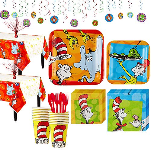 Party City Dr. Seuss Tableware Party Kit for 16 Guests, Includes Plates, Napkins, and Decorations