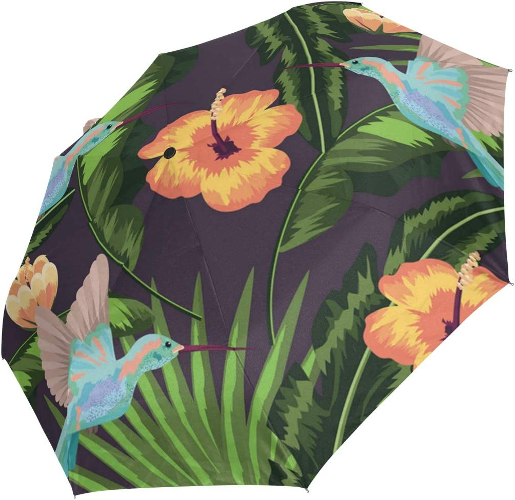 Hummingbird Hanging Tropical Leaves fashion print cute Windproof automatic tri-fold umbrella sun UV protection Sun umbrella