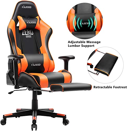 Musso Massgae Gaming Chair with Footrest, Adjustable Esports Gamer Chair, Adults Racing Video Game Chair, Large Size PU Leather High-Back Executive Office Chair Orange