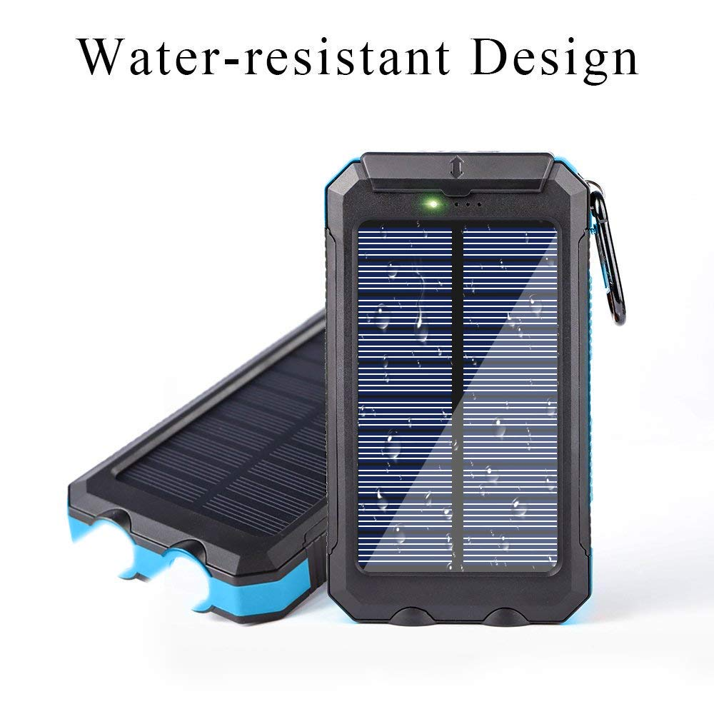 Ayyie Solar Charger,10000mAh Solar Power Bank Portable External Backup Battery Pack Dual USB Solar Phone Charger with 2LED Light Carabiner and Compass for Your Smartphones (Blue)
