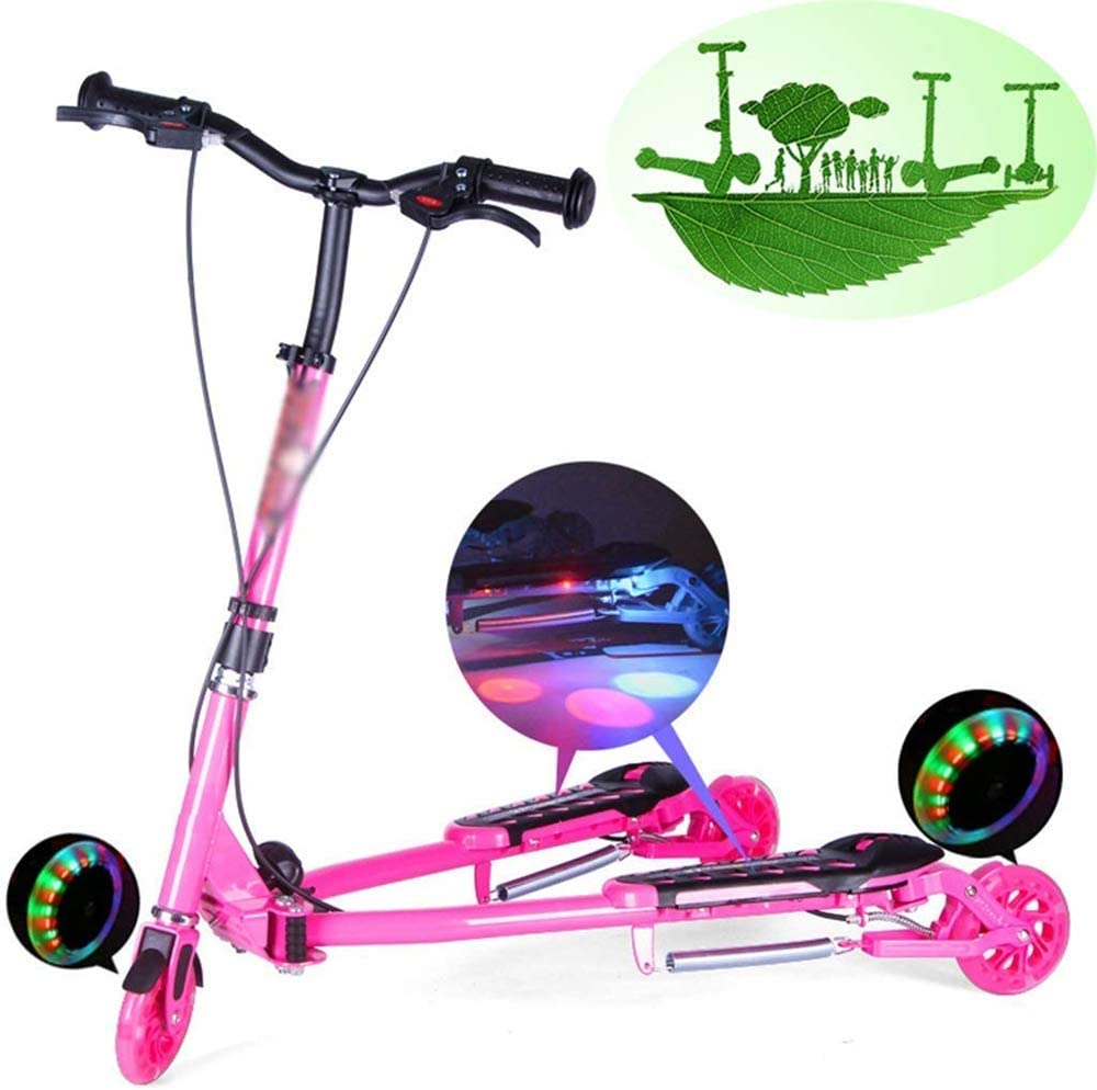 AJH Rana del monopatín de niños Plegable Doble Pedal de Bicicleta de Tres Ruedas Flash de Tijera Carrito,B