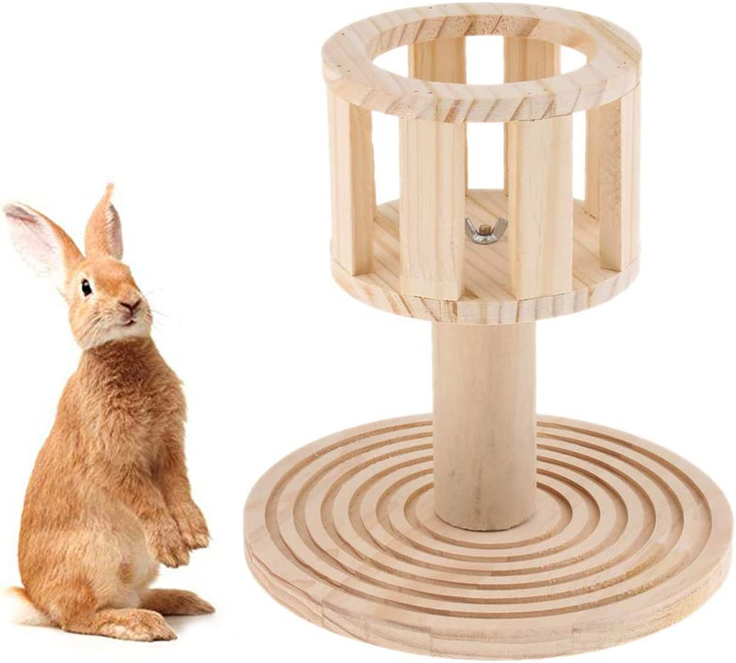 Rabbit Hay Manger Rack Multifunctional Wooden Food Feeder with Grinding Claw for Bunny Rabbits Chinchilla Guinea Pigs Small Animals