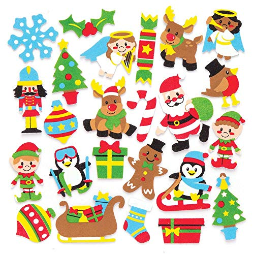 Baker Ross Christmas Foam Stickers (Pack of 120) for Kids Christmas Crafts and Decorations ()