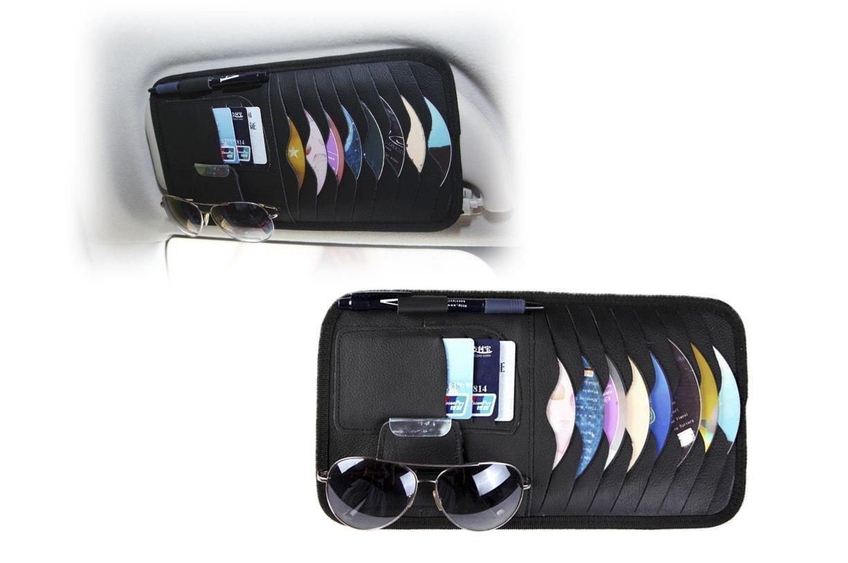 StyleZ CD Sun Visor Organizer Detachable Portable PU Leather with 8 CD Slots + 3 Credit Cards Pockets + 1 Sunglasses Holder + 1 Pen holder (Black)