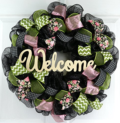 Spring Welcome Wreath   Floral Everyday Door Wreath   Moss Green Pink Ivory Black   Gift for Mom