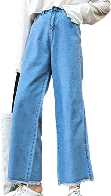 Pantalones Vaqueros De Pierna Ancha Para Mujer Estilo Retro Cintura Alta Sueltos Pantalones Acampanados Amazon Es Ropa Y Accesorios