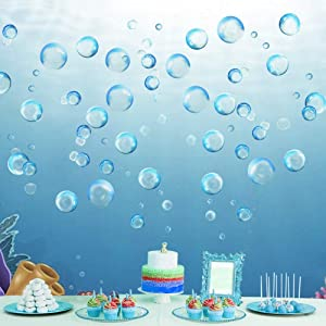 Under the Sea Blue Bubble Cutout Kid's Birthday Party Decoration Bubbles Wall Decal Sticker Ocean Background Decor Water Soap Bubble Bath Bedroom Decor for Little Mermaid Wish Baby Shower