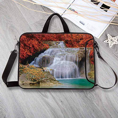 Waterfall Decor Waterproof Neoprene Laptop Bag,Lake Landscape Forest Surrounded by Autumn Leaves on Fall Trees Laptop Bag for Business Casual or School,17.3