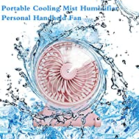 USB Mini Ultrasonic Humidifier Fan Portable Rechargeable Blowing Humidifying Hydrating USB Portable Cooling Mist Humidifier Personal Fan Handheld Fan