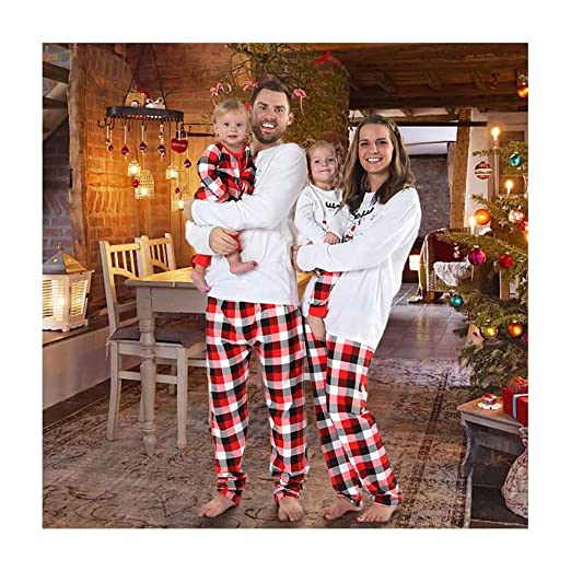 0a10ec8e0e Image Unavailable. Image not available for. Color  Baywell Merry Christmas  Family Pajamas Holiday Matching deer Printed Plaid Sleepwear Clothes Sets