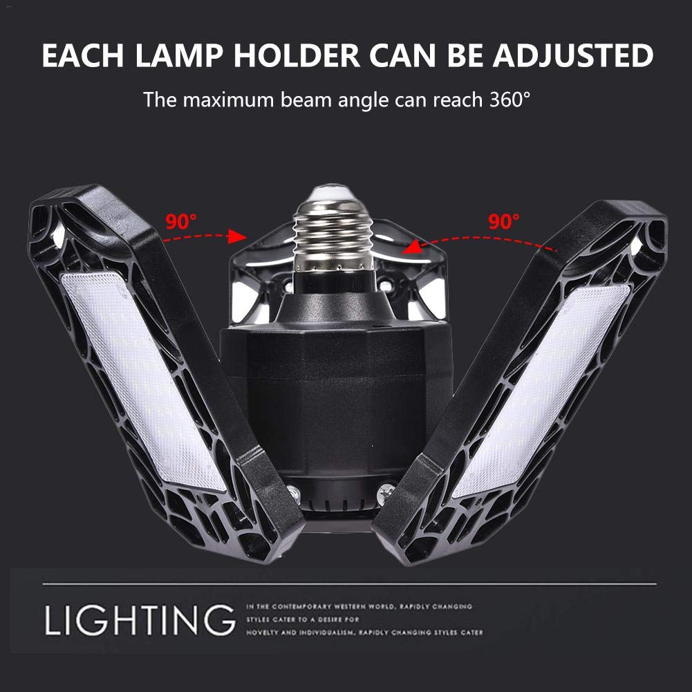biliten Led Garage Lights 60W//6000LM LED Garage Light Deformable Three Blade Foldable Lamp Waterproof Lamp for Gymnasiums Stages Warehouses 110v 220v E27 E26