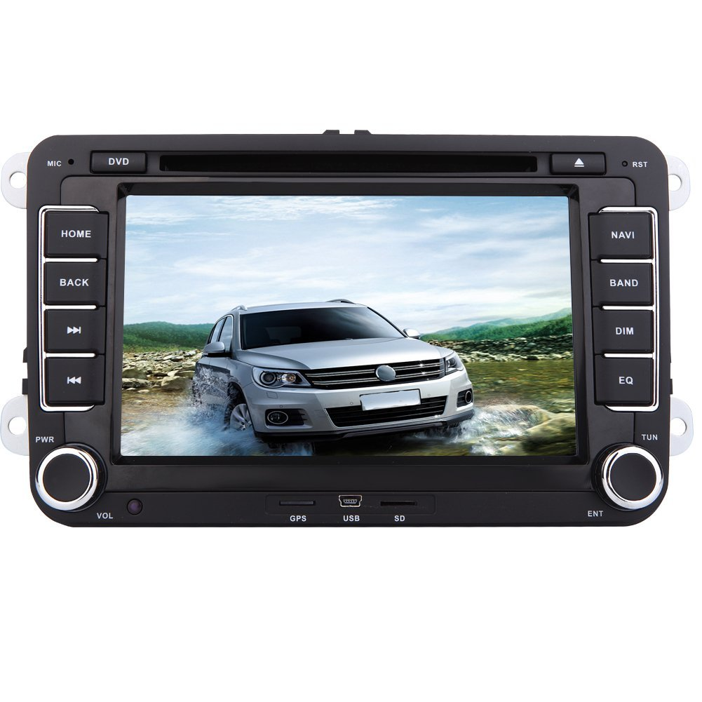 Double Din 7 Car DVD Player GPS Navigation Stereo For VW HD Digital Touchscreew 2din Radio FM AM Transmitter Supports Canbus Steering Wheel